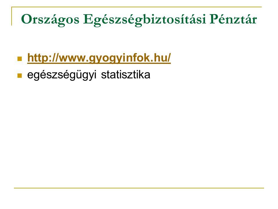 Országos Egészségbiztosítási Pénztár http://www.gyogyinfok.hu/ egészségügyi statisztika