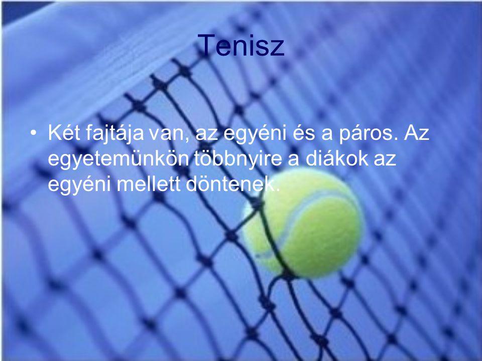 Tenisz Két fajtája van, az egyéni és a páros. Az egyetemünkön többnyire a diákok az egyéni mellett döntenek.