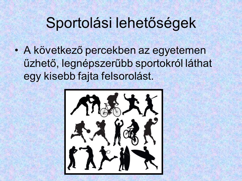 Sportolási lehetőségek A következő percekben az egyetemen űzhető, legnépszerűbb sportokról láthat egy kisebb fajta felsorolást.