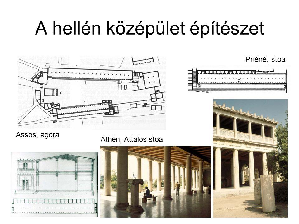 A hellén középület építészet Assos, agora Priéné, stoa Athén, Attalos stoa