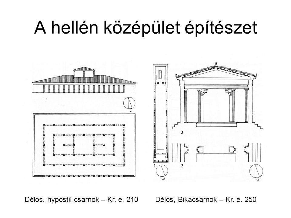 A hellén középület építészet Délos, hypostil csarnok – Kr. e. 210Délos, Bikacsarnok – Kr. e. 250
