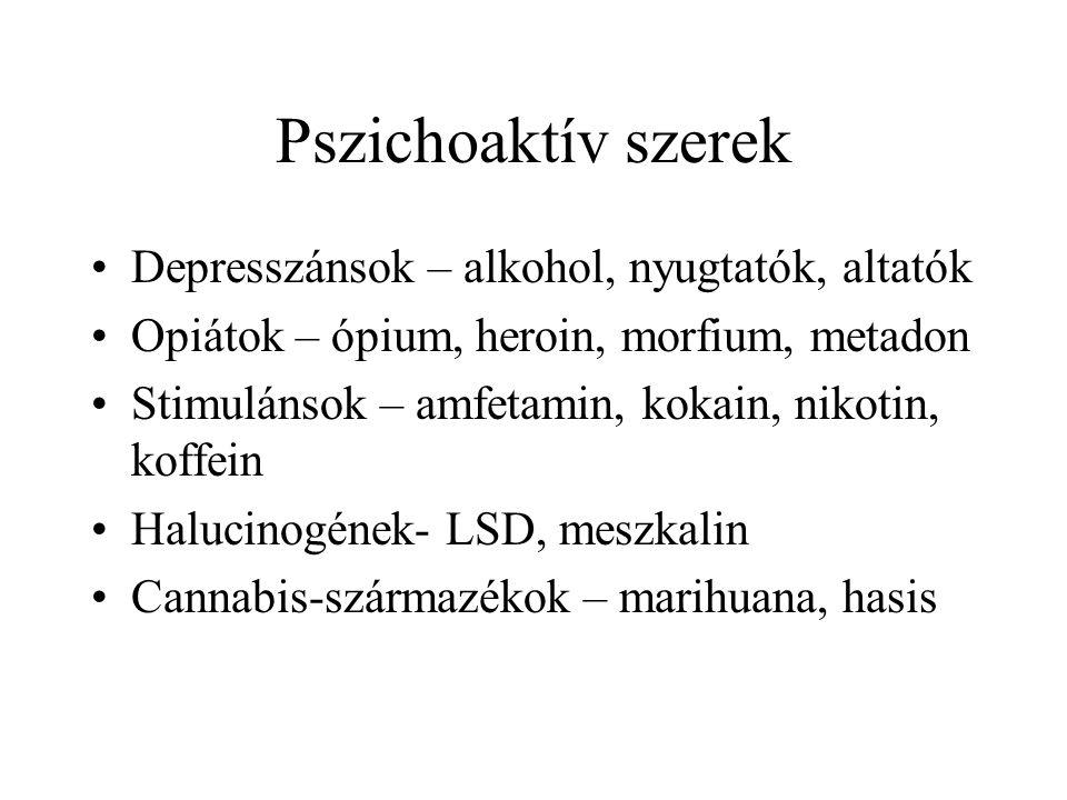 Pszichoaktív szerek Depresszánsok – alkohol, nyugtatók, altatók Opiátok – ópium, heroin, morfium, metadon Stimulánsok – amfetamin, kokain, nikotin, ko