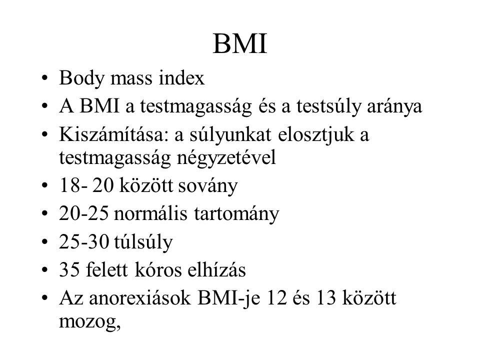 BMI Body mass index A BMI a testmagasság és a testsúly aránya Kiszámítása: a súlyunkat elosztjuk a testmagasság négyzetével 18- 20 között sovány 20-25