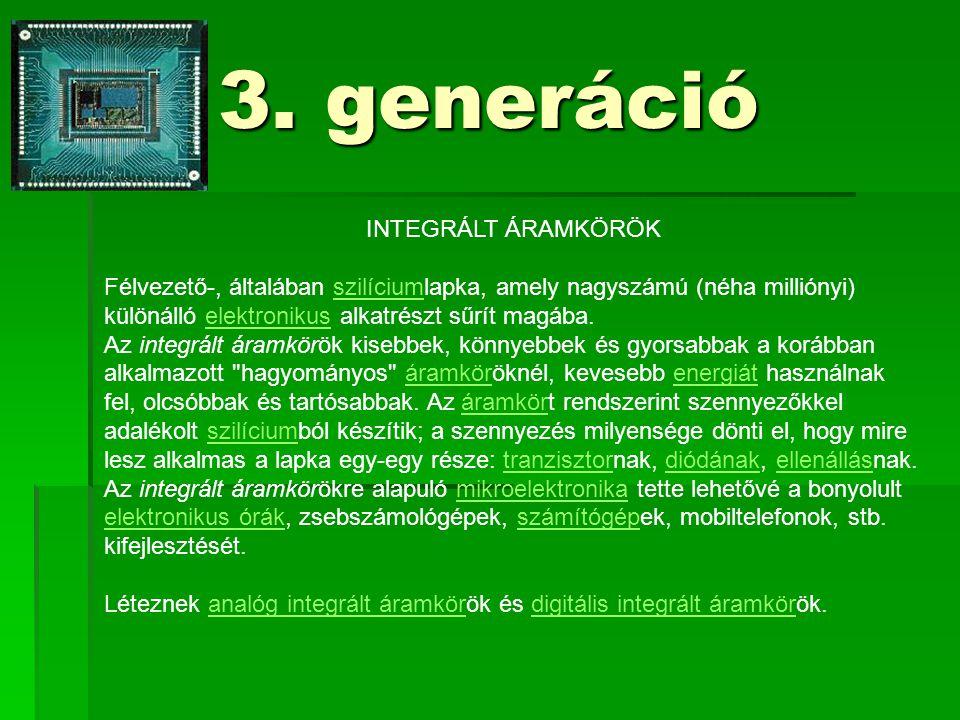 3. generáció INTEGRÁLT ÁRAMKÖRÖK Félvezető-, általában szilíciumlapka, amely nagyszámú (néha milliónyi) különálló elektronikus alkatrészt sűrít magába