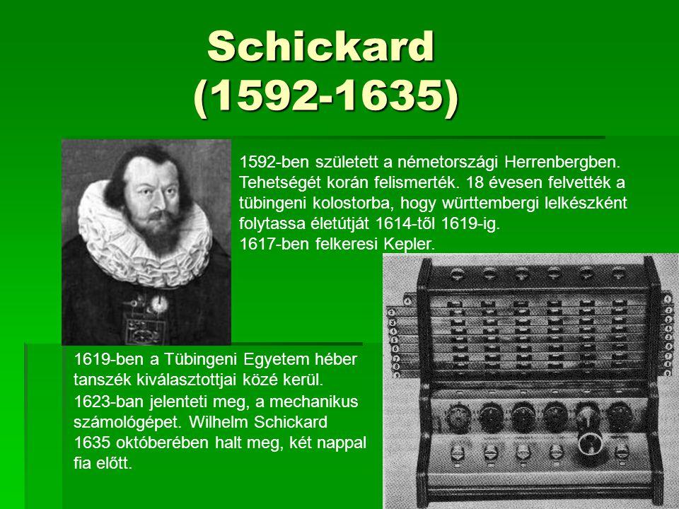 Schickard (1592-1635) Schickard (1592-1635) 1592-ben született a németországi Herrenbergben. Tehetségét korán felismerték. 18 évesen felvették a tübin