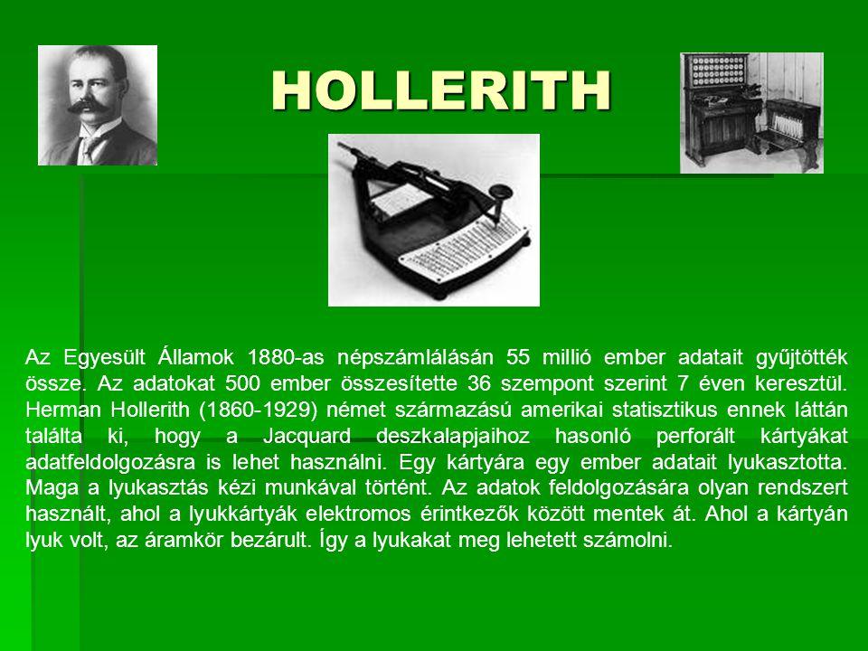 HOLLERITH Az Egyesült Államok 1880-as népszámlálásán 55 millió ember adatait gyűjtötték össze. Az adatokat 500 ember összesítette 36 szempont szerint