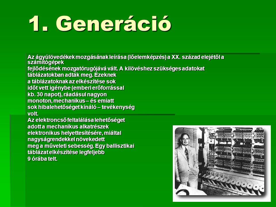 1. Generáció Az ágyúlövedékek mozgásának leírása (lőelemképzés) a XX. század elejétől a számítógépek fejlődésének mozgatórugójává vált. A kilövéshez s
