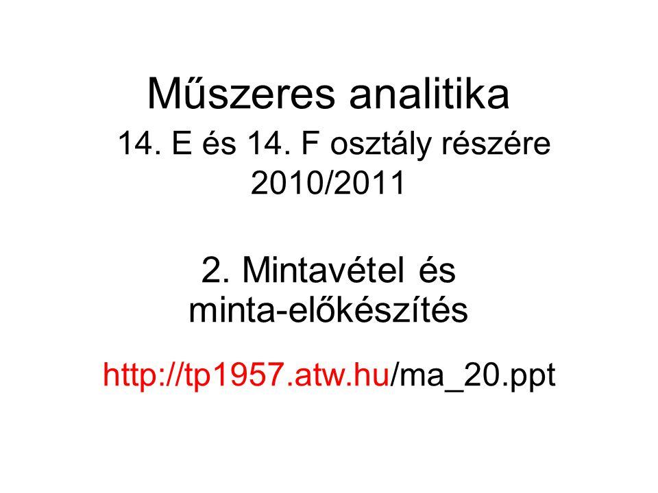 Műszeres analitika 14. E és 14. F osztály részére 2010/2011 2. Mintavétel és minta-előkészítés http://tp1957.atw.hu/ma_20.ppt