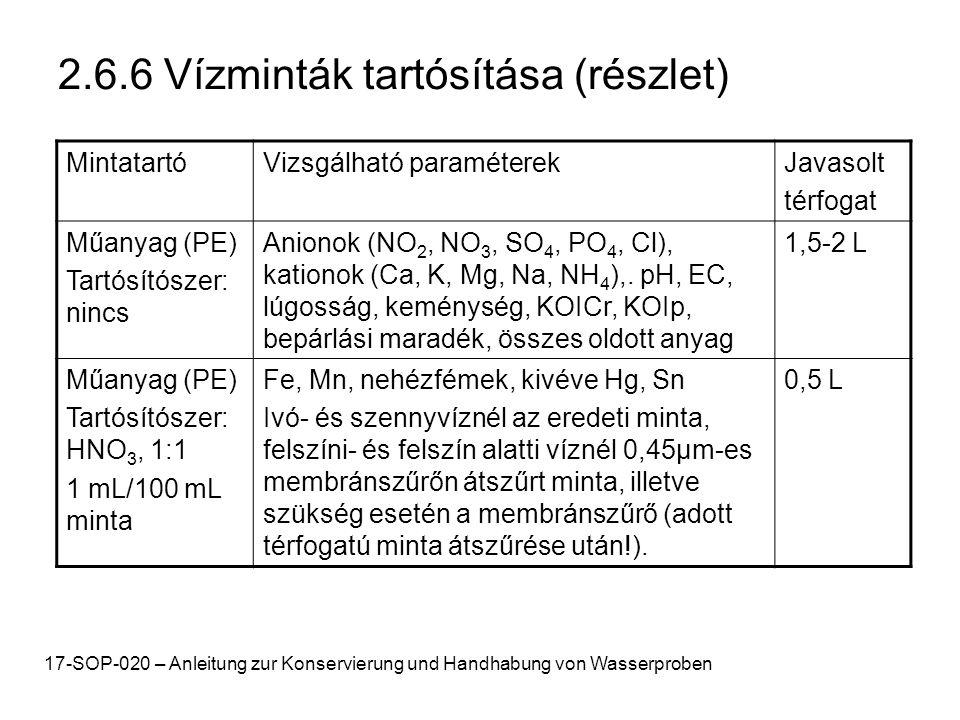 2.6.6 Vízminták tartósítása (részlet) MintatartóVizsgálható paraméterekJavasolt térfogat Műanyag (PE) Tartósítószer: nincs Anionok (NO 2, NO 3, SO 4, PO 4, Cl), kationok (Ca, K, Mg, Na, NH 4 ),.