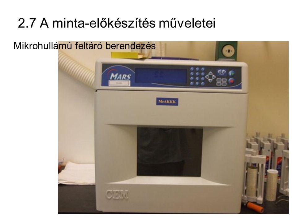 2.7 A minta-előkészítés műveletei Mikrohullámú feltáró berendezés