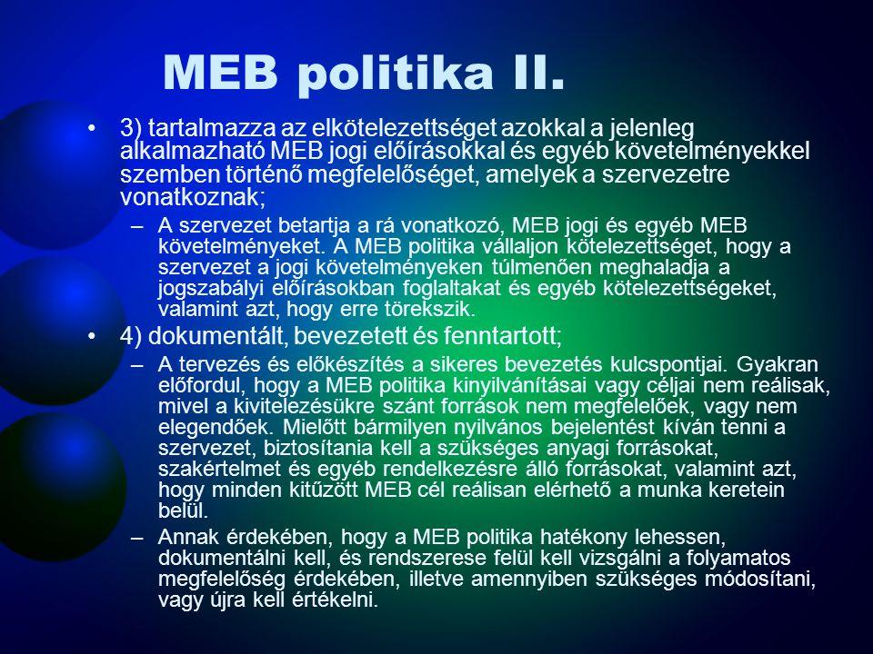 MEB politika I. A hatékonyan kialakított és ismertetett MEB Politika: 1) feleljen meg a szervezeten belül meglévő MEB kockázatok jellegének és mértéké