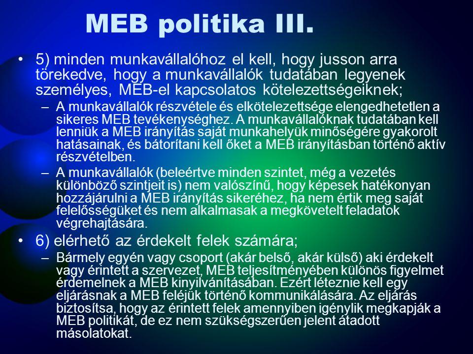 MEB politika II. 3) tartalmazza az elkötelezettséget azokkal a jelenleg alkalmazható MEB jogi előírásokkal és egyéb követelményekkel szemben történő m