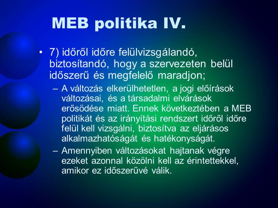 MEB politika III. 5) minden munkavállalóhoz el kell, hogy jusson arra törekedve, hogy a munkavállalók tudatában legyenek személyes, MEB-el kapcsolatos