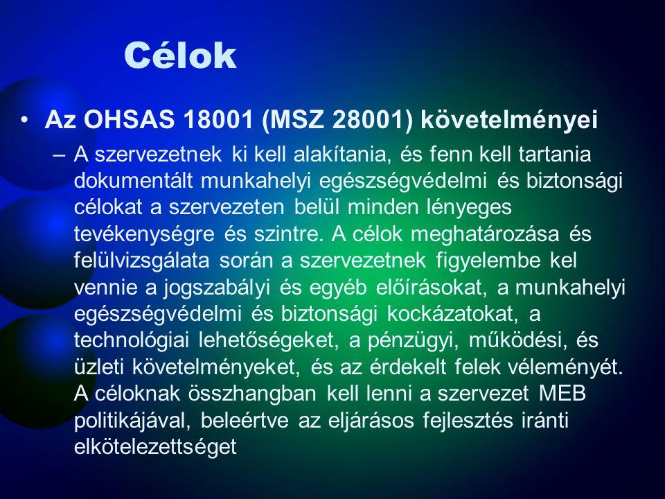 Jogi és egyéb kötelezettségek Az OHSAS 18001 (MSZ 28001) szerinti követelmények –A szervezetnek ki kell alakítania, és fenn kell tartania egy eljárást, a rá vonatkozó jogszabályi és egyéb MEB követelmények figyelemmel kísérésére, és azokhoz való hozzáférésre.