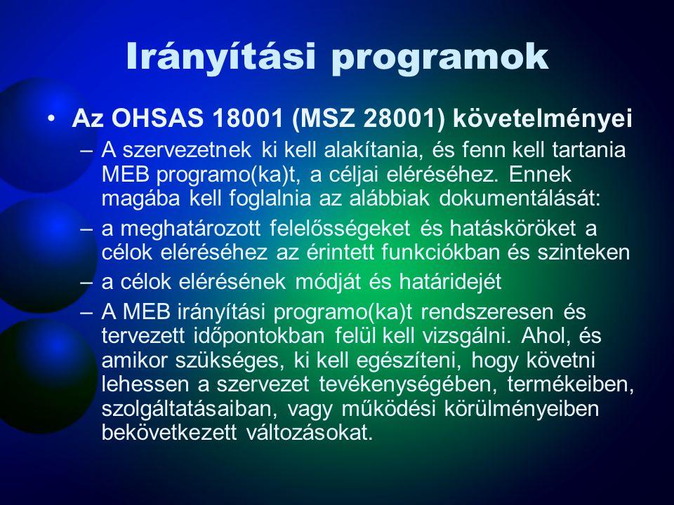 Célok Az OHSAS 18001 (MSZ 28001) követelményei –A szervezetnek ki kell alakítania, és fenn kell tartania dokumentált munkahelyi egészségvédelmi és biztonsági célokat a szervezeten belül minden lényeges tevékenységre és szintre.