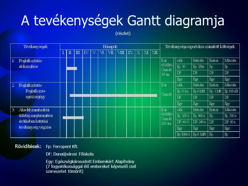 Logikai keretmátrix Beavatkozási logikaObjektívan igazolható jelzőkIgazolási források Feltételezések Átfogó cél Az inaktív, fogyatékossággal élő potenciális munkavállalók munkavilágába való integrálása, a célcsoport esélyegyenlőségének javítása Munkavilágába visszatért emberek számának növelése 2003 bázisévhez képest (2005-től évente min 25) FMM, ESZCSM Munkaügyi Kirendelt- ségek Önkormányzat rehabilitációs nyilvántartása Közvetlen cél Fogyatékkal élők emberek foglalkoztatásának növelése akadálymentesítési üzletág megteremtésével Dunaújvárosban és térségében Akadálymentesítéssel foglalkozó vállalkozások létrejötte 2003 bázisévet követően (2005-ben min.