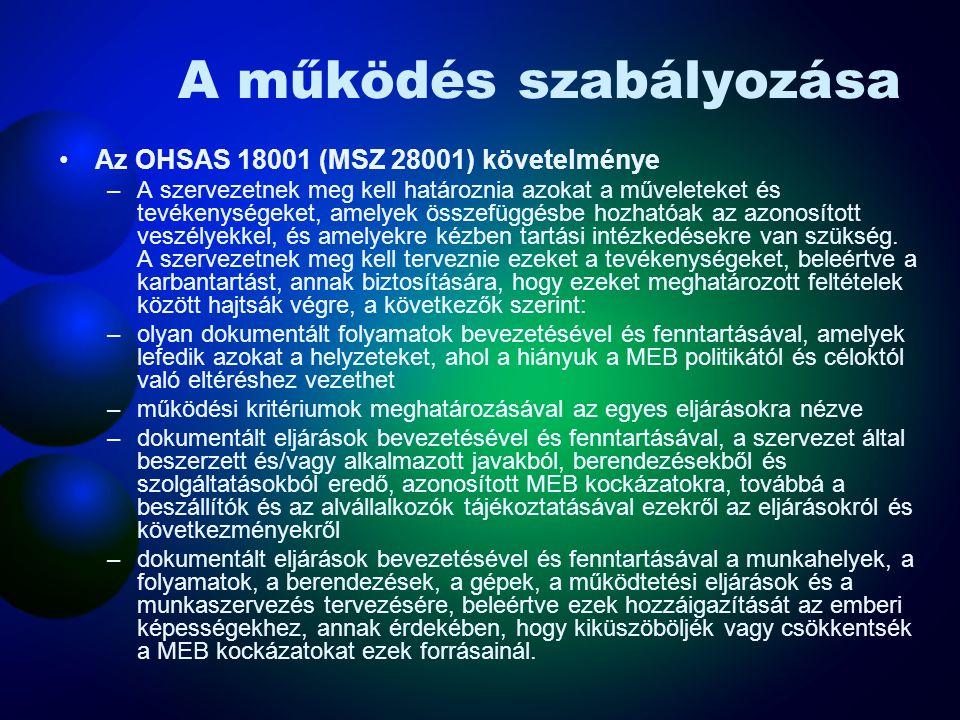 Dokumentumok és adatok kezelése Az OHSAS 18001 (MSZ 28001) követelményei –A szervezetnek eljárásokat kell kialakítania és fenntartania e szabványban m