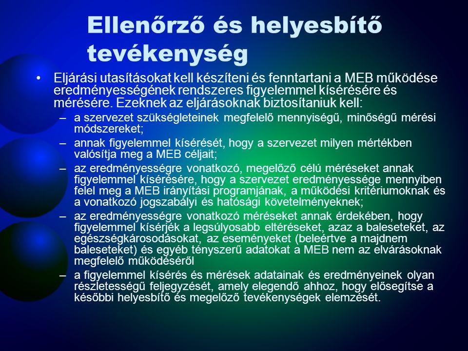 Ellenőrző és helyesbítő tevékenység A szervezet határozza meg a MEB működése eredményességének fő jellemzőit a szervezet egészére.