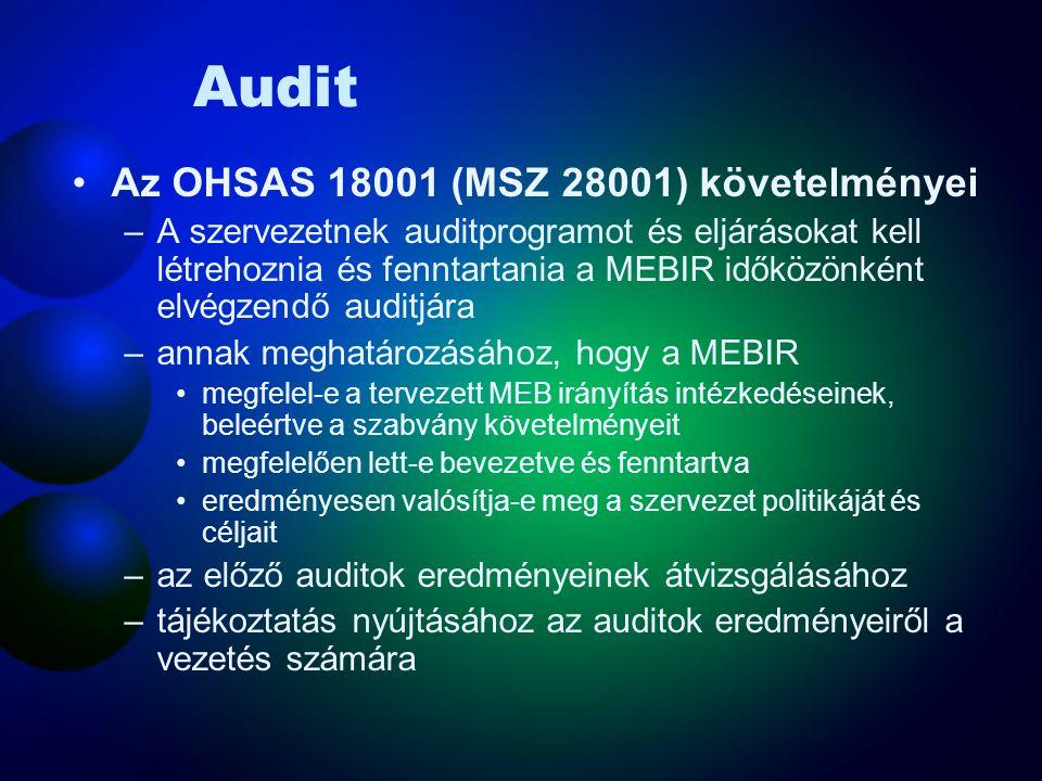 Feljegyzések és a feljegyzések kezelése Az OHSAS 18001 (MSZ 28001) követelményei –A szervezetnek eljárásokat kell létrehoznia és fenntartania a MEB feljegyzések, valamint az auditok és az átvizsgálások eredményeinek azonosítására, kezelésére és selejtezésére.