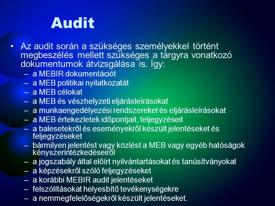 Audit A folyamat célja, hogy az audit során átfogó és hivatalos értékelés szülessen a szervezet megfelel-e a MEB eljárásoknak és az elvárt gyakorlatnak.