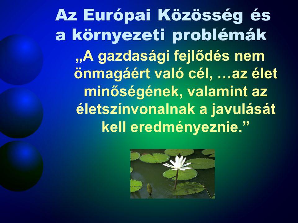 """Az Európai Közösség és a környezeti problémák """"A gazdasági fejlődés nem önmagáért való cél, …az élet minőségének, valamint az életszínvonalnak a javulását kell eredményeznie."""