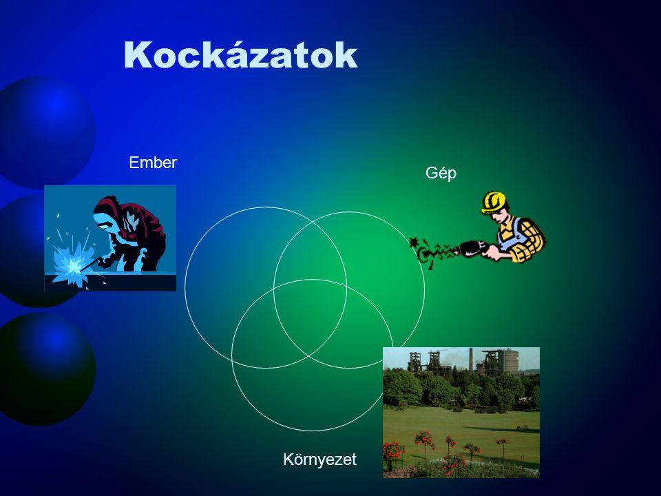 Kockázatok Egy lehetséges csoportosításuk –Munkaeszközök használata –Munkavégzés és munkakörnyezet –Fizikai és biológiai tényezők –Veszélyes anyagok,