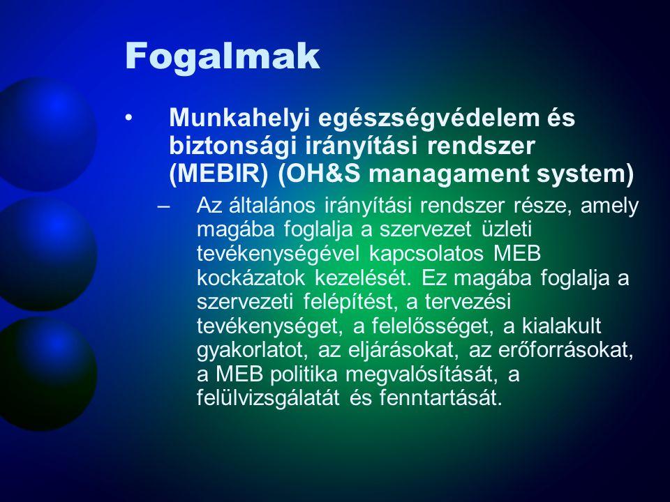 Fogalmak Munkahelyi egészségvédelem és biztonság (MEB) (occupational health and safety) –Feltételek és tényezők, amelyek hatással vannak a munkavállal