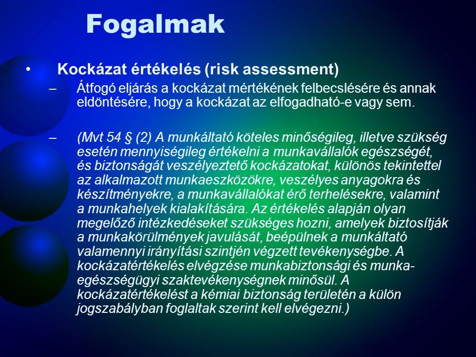 Fogalmak Kockázat (risk) –Egy meghatározott veszélyes esemény előfordulásának valószínűségének és következménye(i)nek kombinációja. (Mvt: Kockázat: a
