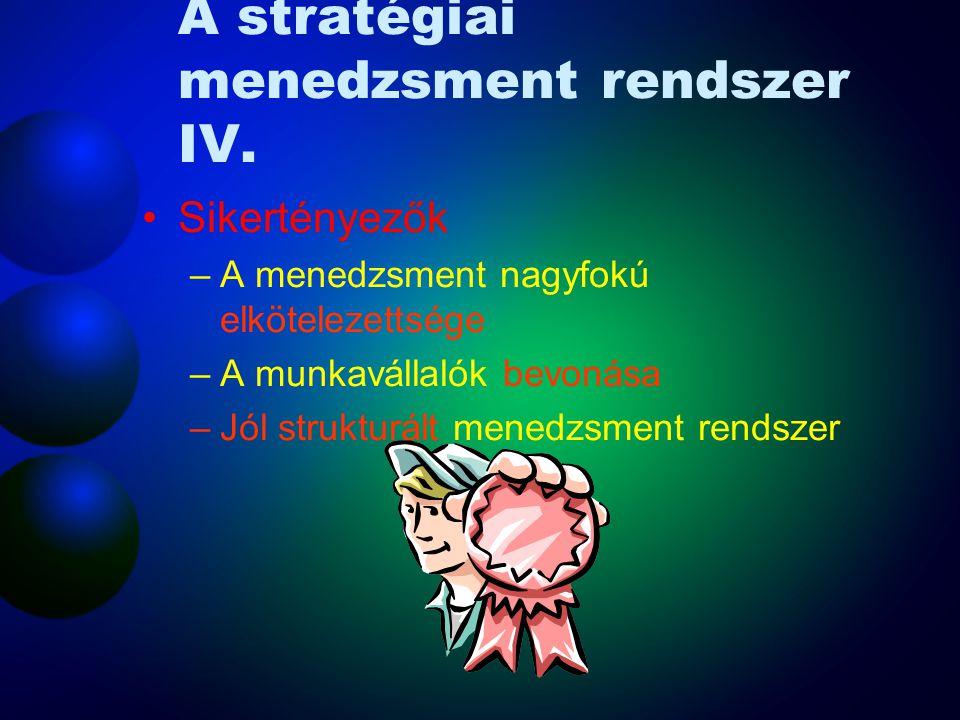 A stratégiai menedzsment rendszer III. Ellenőrzés, korrekció –Teljesítmény mérése és nyomon követése –Megelőző és utólagos lépések tervezése –Írásos b