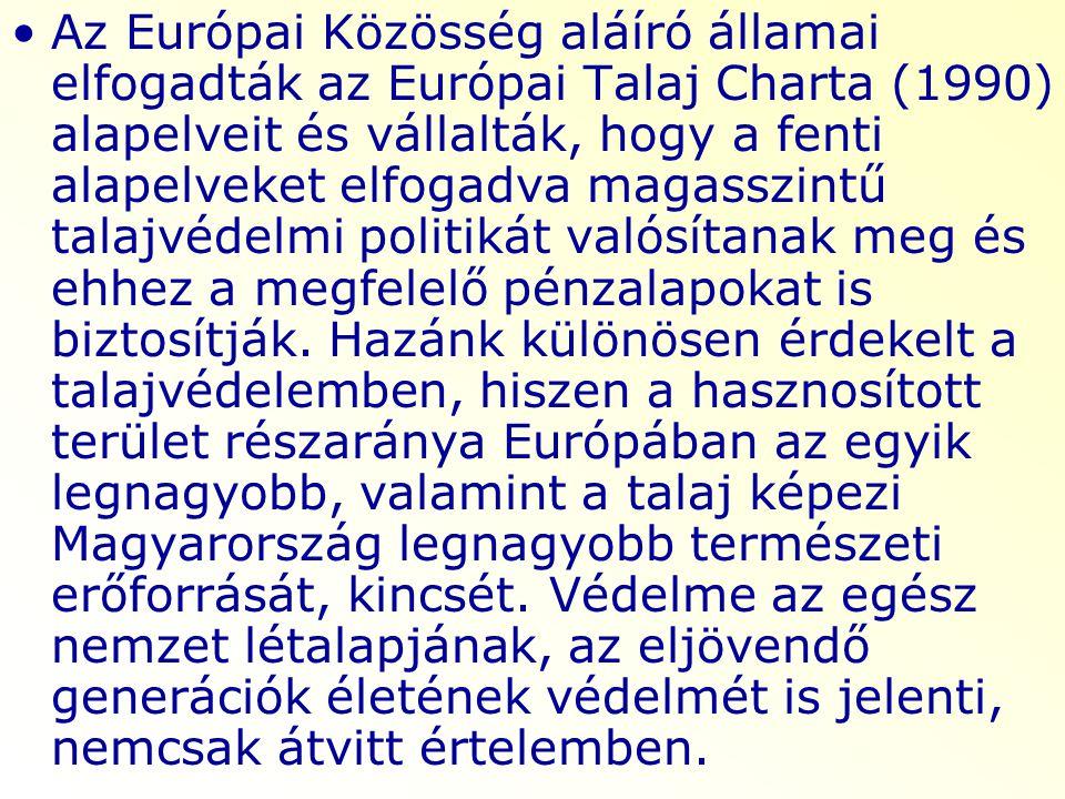 Az Európai Közösség aláíró államai elfogadták az Európai Talaj Charta (1990) alapelveit és vállalták, hogy a fenti alapelveket elfogadva magasszintű t
