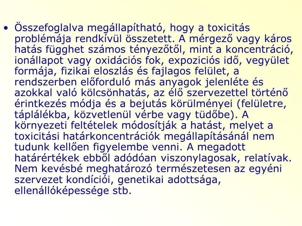Összefoglalva megállapítható, hogy a toxicitás problémája rendkívül összetett. A mérgező vagy káros hatás függhet számos tényezőtől, mint a koncentrác