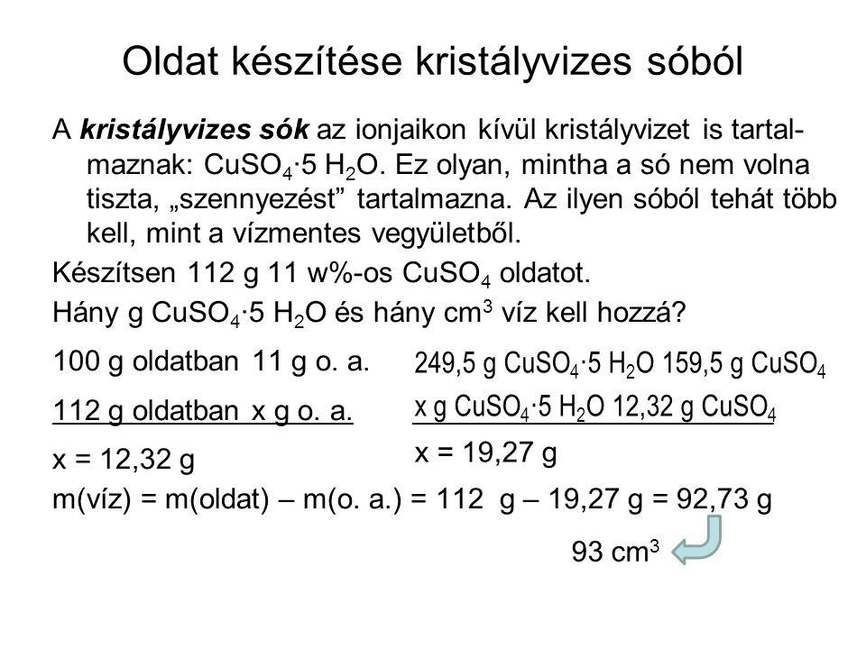 Oldat készítése kristályvizes sóból A kristályvizes sók az ionjaikon kívül kristályvizet is tartal- maznak: CuSO 4 ·5 H 2 O. Ez olyan, mintha a só nem