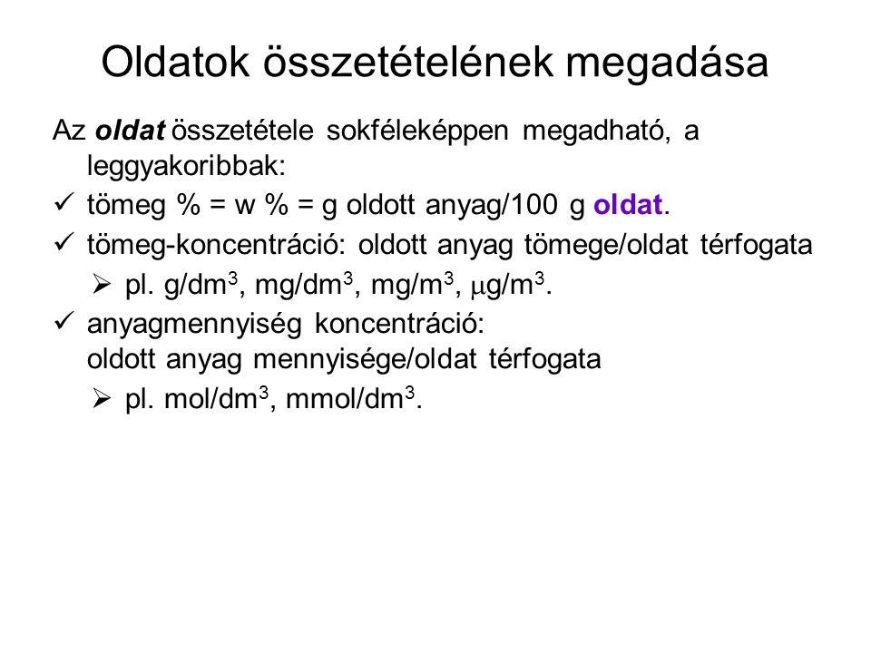 Oldatok összetételének megadása Az oldat összetétele sokféleképpen megadható, a leggyakoribbak: tömeg % = w % = g oldott anyag/100 g oldat. tömeg-konc