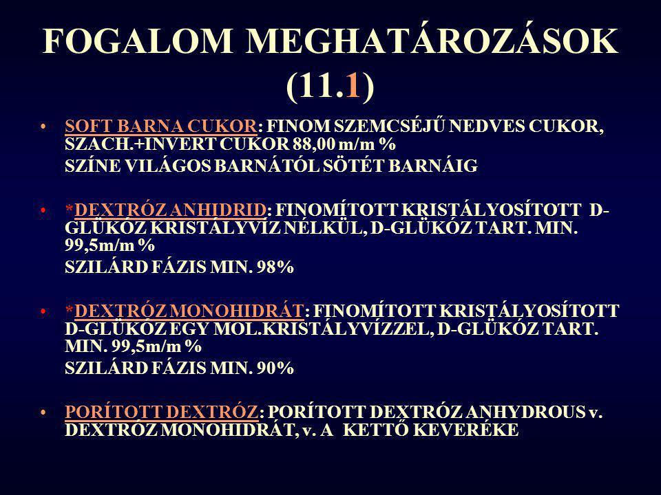 FOGALOM MEGHATÁROZÁSOK (11.1) SOFT BARNA CUKOR: FINOM SZEMCSÉJŰ NEDVES CUKOR, SZACH.+INVERT CUKOR 88,00 m/m % SZÍNE VILÁGOS BARNÁTÓL SÖTÉT BARNÁIG *DE