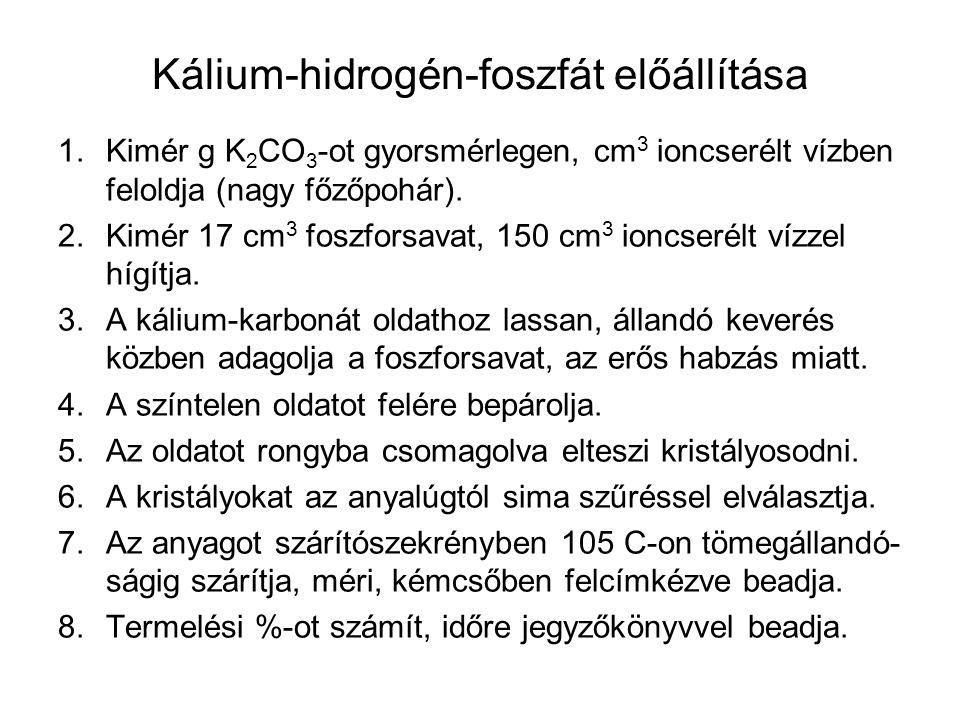 Kálium-hidrogén-foszfát előállítása 1.Kimér g K 2 CO 3 -ot gyorsmérlegen, cm 3 ioncserélt vízben feloldja (nagy főzőpohár). 2.Kimér 17 cm 3 foszforsav