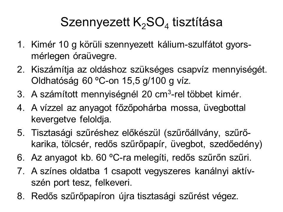 Szennyezett K 2 SO 4 tisztítása 1.Kimér 10 g körüli szennyezett kálium-szulfátot gyors- mérlegen óraüvegre. 2.Kiszámítja az oldáshoz szükséges csapvíz