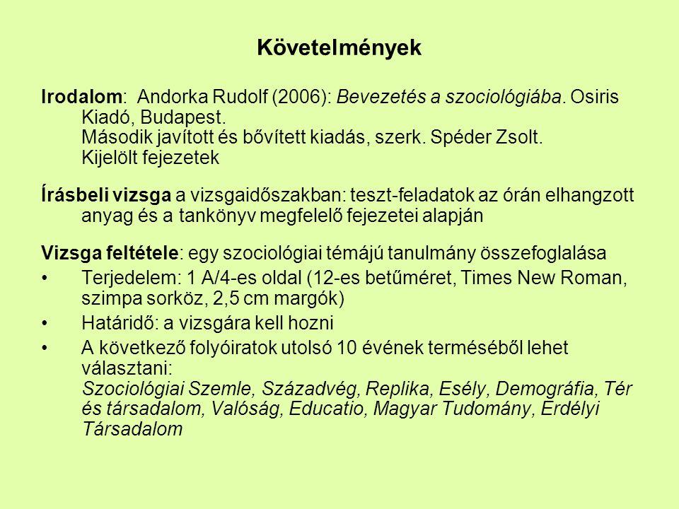 Követelmények Irodalom: Andorka Rudolf (2006): Bevezetés a szociológiába. Osiris Kiadó, Budapest. Második javított és bővített kiadás, szerk. Spéder Z