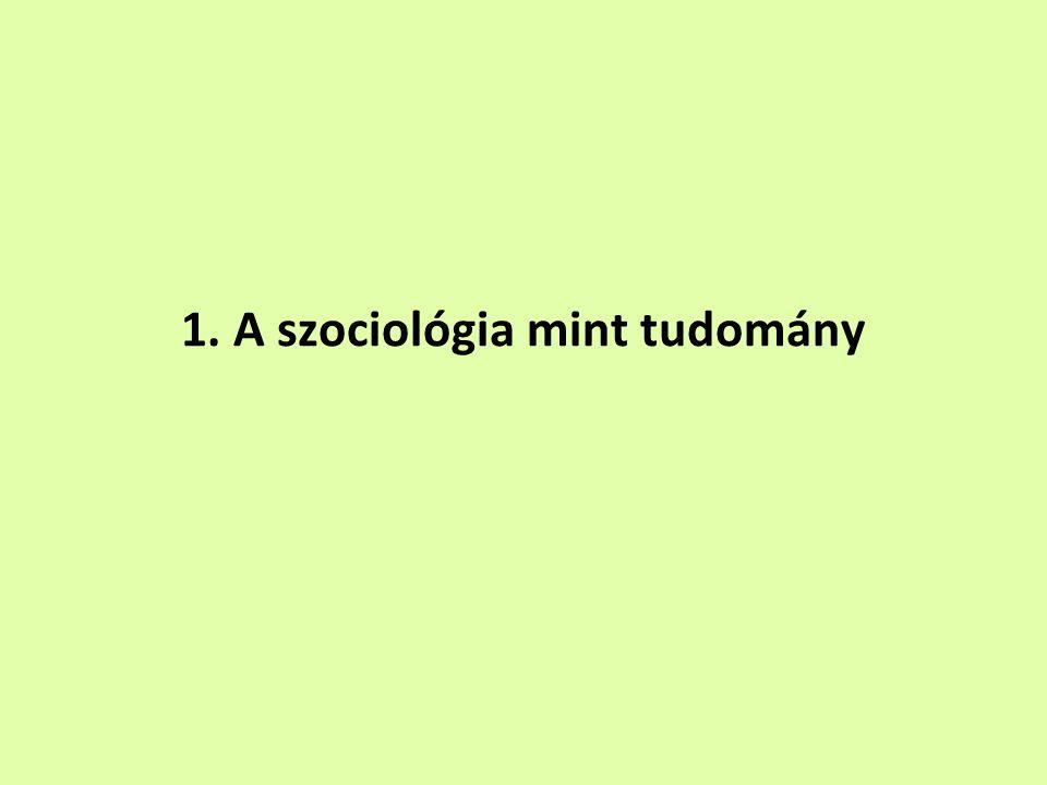 1. A szociológia mint tudomány