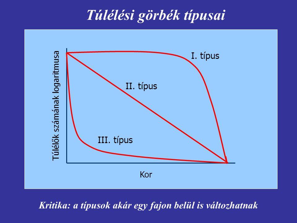 Túlélési görbék típusai Kor Túlélők számának logaritmusa I. típus II. típus III. típus Kritika: a típusok akár egy fajon belül is változhatnak