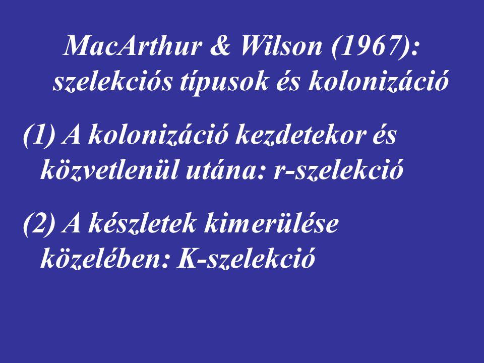 MacArthur & Wilson (1967): szelekciós típusok és kolonizáció (1) A kolonizáció kezdetekor és közvetlenül utána: r-szelekció (2) A készletek kimerülése