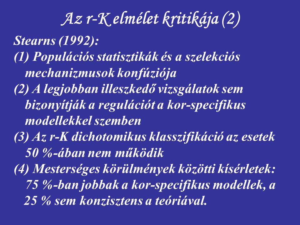 Az r-K elmélet kritikája (2) Stearns (1992): (1) Populációs statisztikák és a szelekciós mechanizmusok konfúziója (2) A legjobban illeszkedő vizsgálat