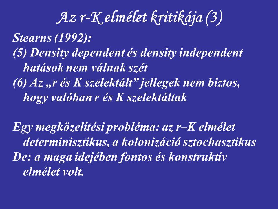 """Az r-K elmélet kritikája (3) Stearns (1992): (5) Density dependent és density independent hatások nem válnak szét (6) Az """"r és K szelektált"""" jellegek"""
