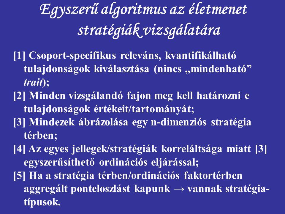 """Egyszerű algoritmus az életmenet stratégiák vizsgálatára [1] Csoport-specifikus releváns, kvantifikálható tulajdonságok kiválasztása (nincs """"mindenhat"""