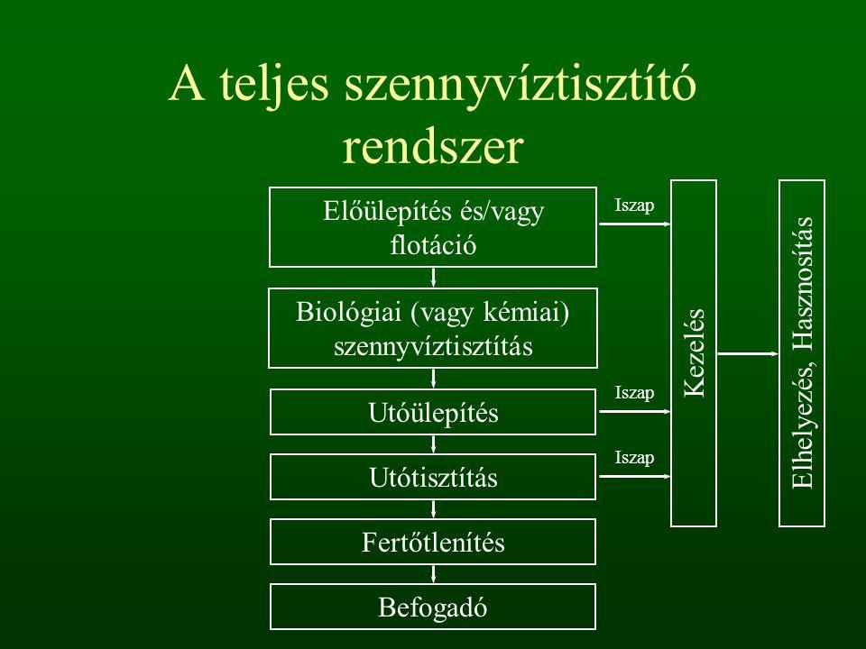 A teljes szennyvíztisztító rendszer Előülepítés és/vagy flotáció Biológiai (vagy kémiai) szennyvíztisztítás Utóülepítés Utótisztítás Fertőtlenítés Bef