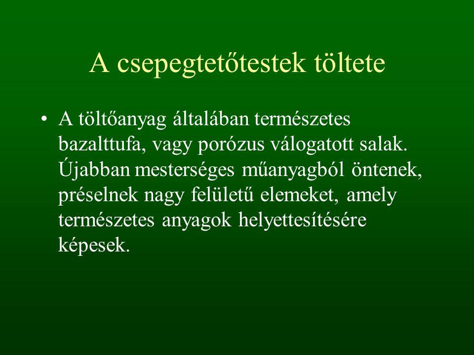 A csepegtetőtestek töltete A töltőanyag általában természetes bazalttufa, vagy porózus válogatott salak.
