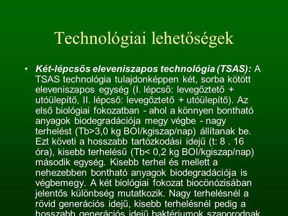 Technológiai lehetőségek Két-lépcsős eleveniszapos technológia (TSAS): A TSAS technológia tulajdonképpen két, sorba kötött eleveniszapos egység (I. lé