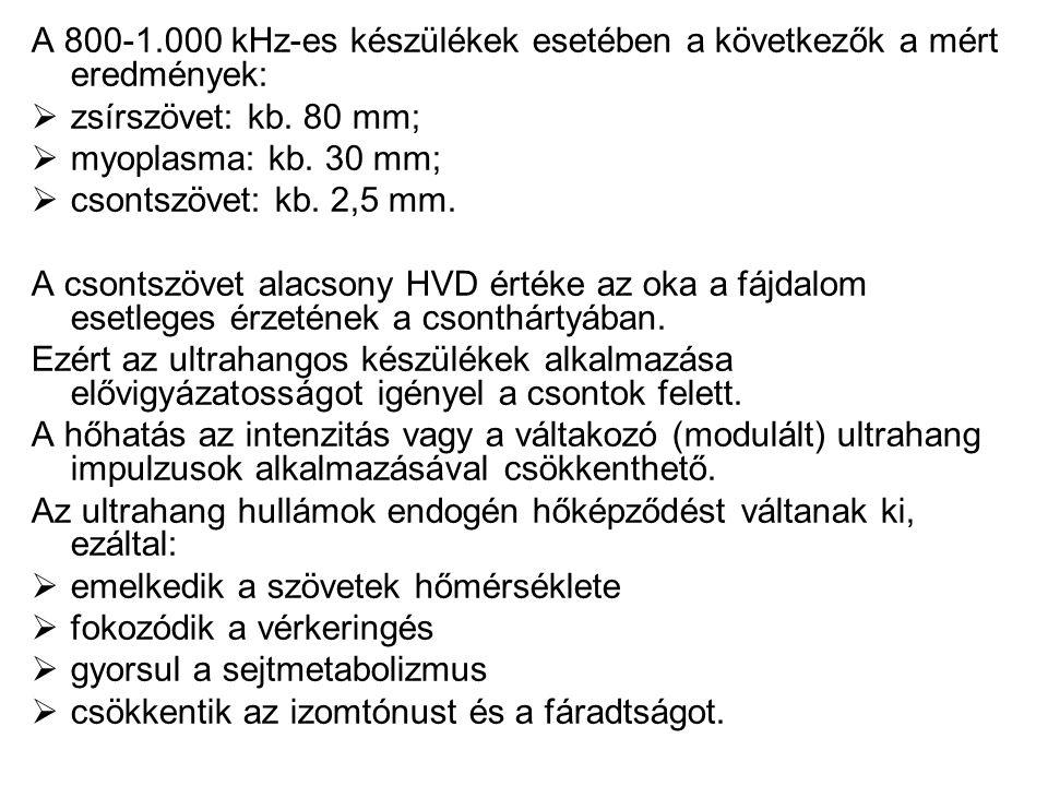 A 800-1.000 kHz-es készülékek esetében a következők a mért eredmények:  zsírszövet: kb. 80 mm;  myoplasma: kb. 30 mm;  csontszövet: kb. 2,5 mm. A c
