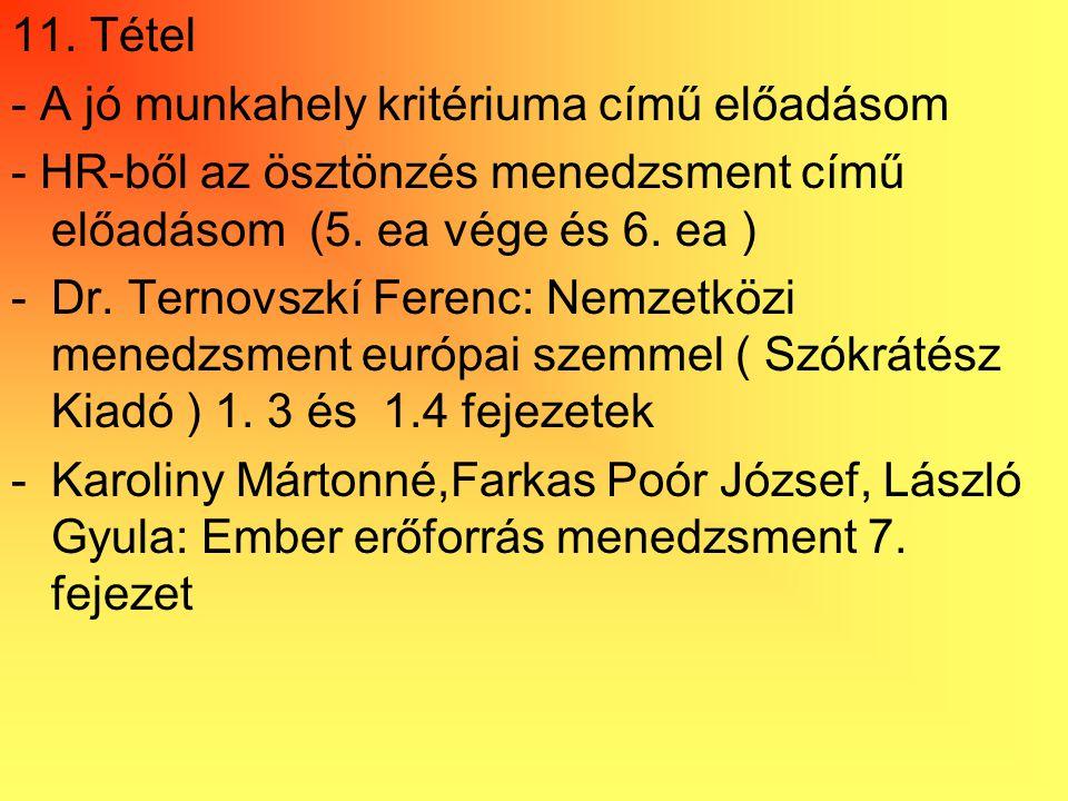 11. Tétel - A jó munkahely kritériuma című előadásom - HR-ből az ösztönzés menedzsment című előadásom (5. ea vége és 6. ea ) -Dr. Ternovszkí Ferenc: N