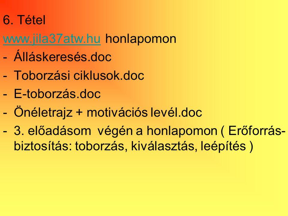 6. Tétel www.jila37atw.huwww.jila37atw.hu honlapomon -Álláskeresés.doc -Toborzási ciklusok.doc -E-toborzás.doc -Önéletrajz + motivációs levél.doc -3.