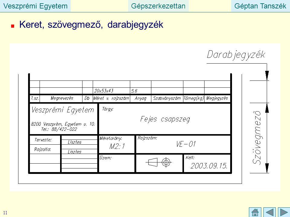Veszprémi EgyetemGépszerkezettanGéptan TanszékVeszprémi EgyetemGéptan Tanszék 11 Keret, szövegmező, darabjegyzék